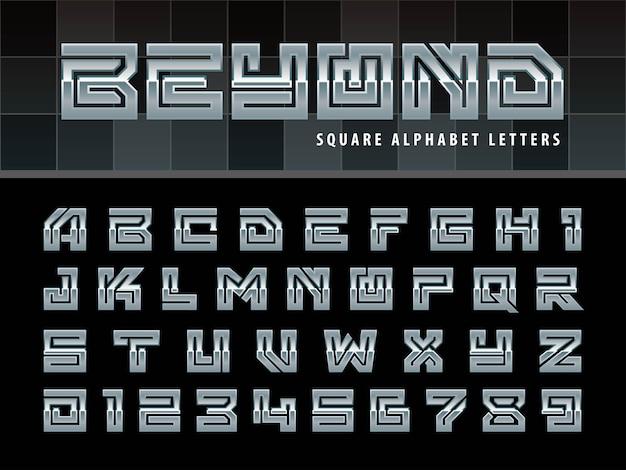 Квадратные буквы алфавита, один линейный стилизованный округлые шрифты