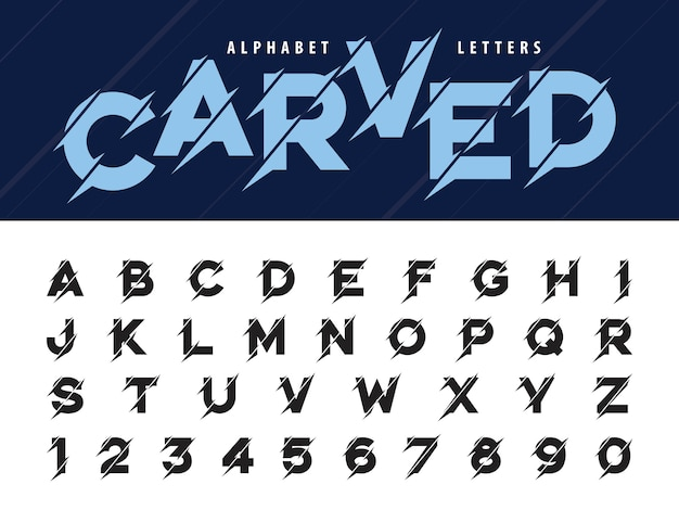 グリッチ現代アルファベット文字、グランジと彫刻線形定型化された丸みを帯びたフォント