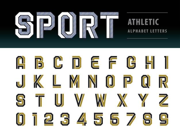 アスレチックアルファベット文字、幾何学的なフォント、スポーツ、未来の未来