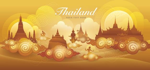 Таиланд удивительный золотой вектор, тайский художественный графический вектор