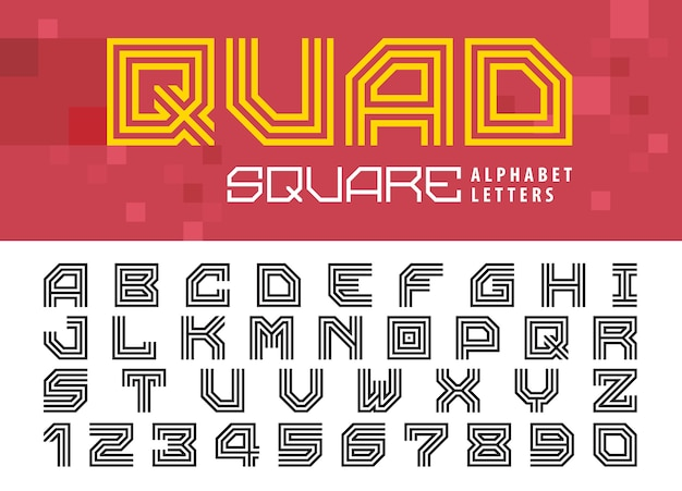 Квадратные буквы алфавита и цифры