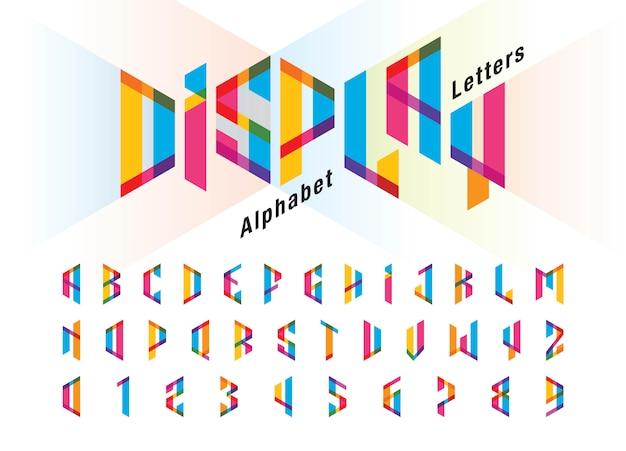 歪んだモダンなアルファベット文字と数字、ミニマリストのフォントデザインのベクトル