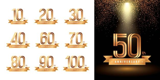 周年記念ロゴタイプデザインのセット、周年記念ロゴを祝う