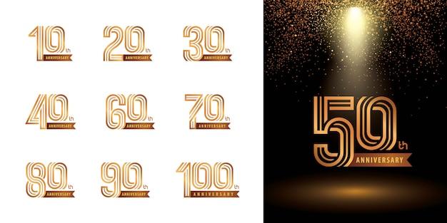 Набор дизайн логотипа юбилей, логотип праздновать юбилей
