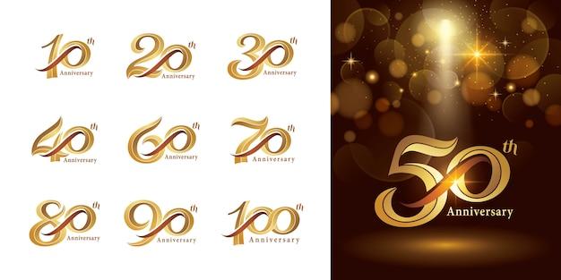 周年記念ロゴタイプデザイン、エレガントクラシックロゴ、ヴィンテージおよびレトロなセリフ番号文字のセット