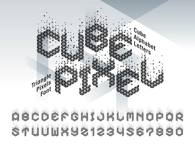キューブアルファベットの文字と数字のベクトル