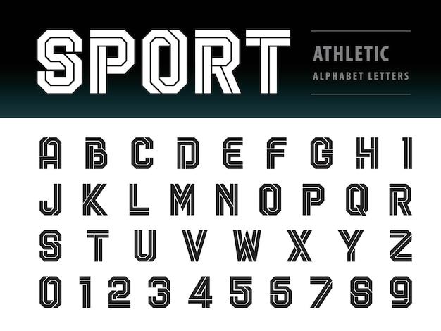 アスレチックアルファベットの文字と数字のベクトル