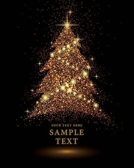黒の背景にゴールドキラキラクリスマスツリーのベクトル