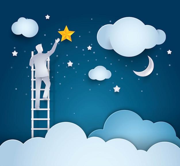 ビジネスマン、空に星に達するためのはしごを登る