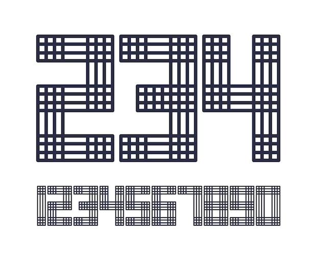 ジオメトリックフォントラインスタイルエフェクトデザイン番号