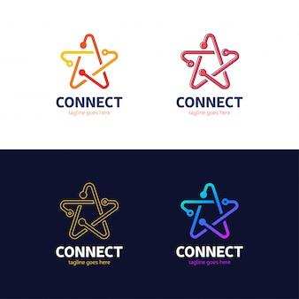 人々は星のロゴタイプのネットワークアイデアを結ぶ