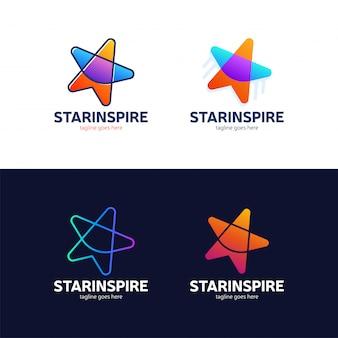 スターは創造的でカラフルなロゴデザインを刺激する