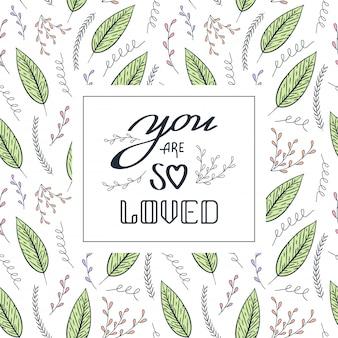 Любовная цитата бесшовный контурный цветочный узор