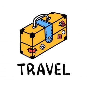 Мультфильм путешествия чемодан каракули надписи для оформления дизайна. рисование текста