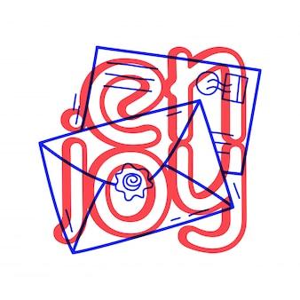 Рука нарисовать два значка почты в стиле каракули с буквами.