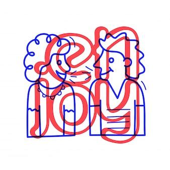 手は、レタリングと落書きスタイルで愛の心のアイコンを描画します。