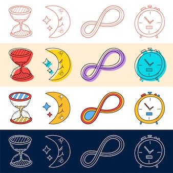 Рука рисовать песочные часы, луна, бесконечный набор иконок в стиле каракули для вашего дизайна.