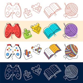 手はゲームパッド、本、編み物、パズルアイコンをあなたのデザインのための落書きスタイルに設定します。