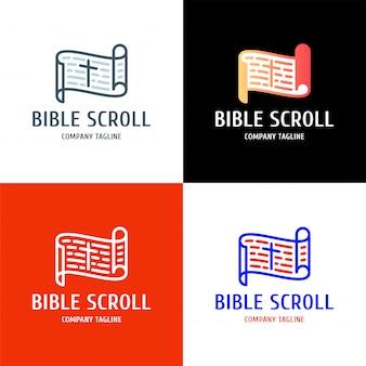 中央のロゴデザインに十字架が付いている聖書の巻物。