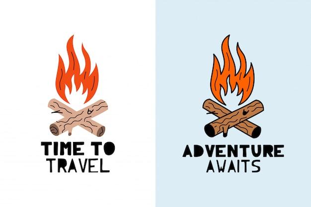 冒険は焚き火のロゴを待っています
