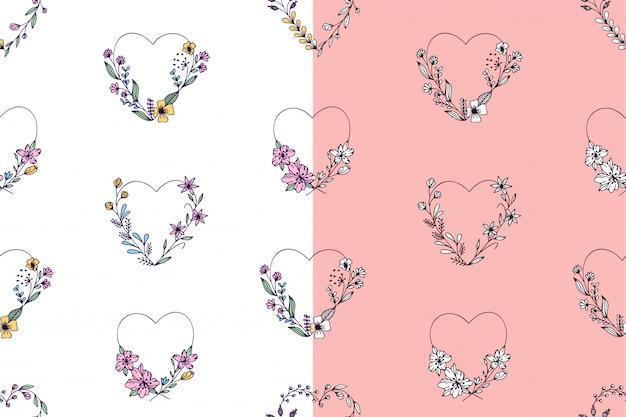 手と心と花で描かれたシームレスパターンのセット
