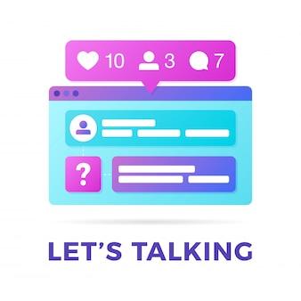 Векторная иллюстрация концепции коммуникации социальных медиа. слово позволяет говорить с красочными кроссплатформенными окнами браузера