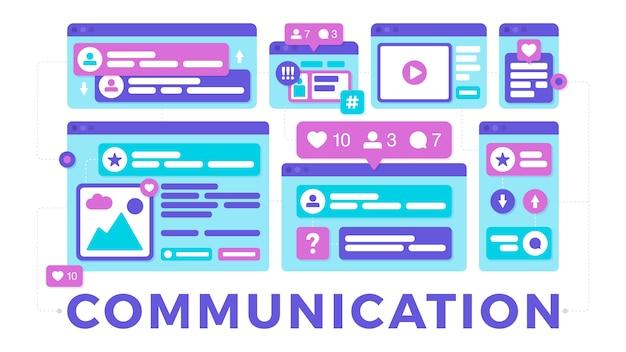 Векторная иллюстрация концепции коммуникации социальных медиа. слово общение с красочными кроссплатформенными окнами браузера