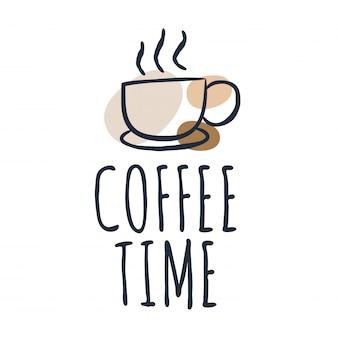 コーヒーカップとレタリング