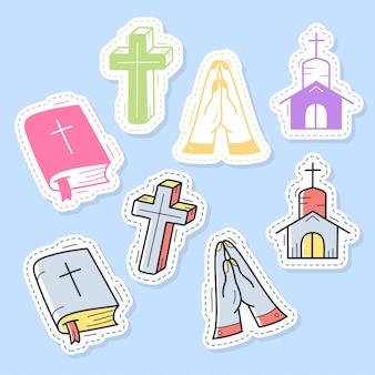 キリスト教のステッカー、ピン、パッチ、漫画のスタイルで手書きのコレクションのセットです。