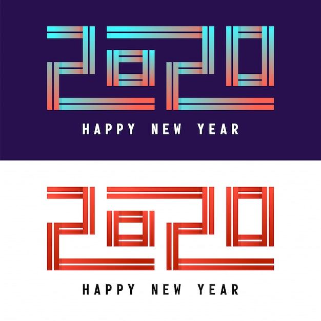 新年の幸せな新年のお祝いグリーティングカードイラスト