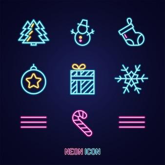 Установите рождество простой светящийся неоновый контур красочный значок на синем