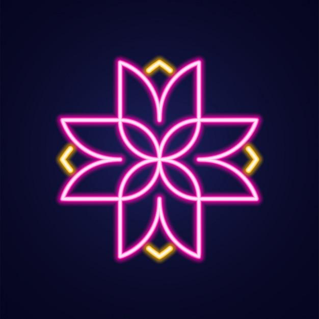 Цветочный крест простой светящийся неоновый контур красочный значок