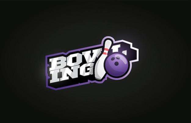 Боулинг современный профессиональный спортивный логотип в стиле ретро