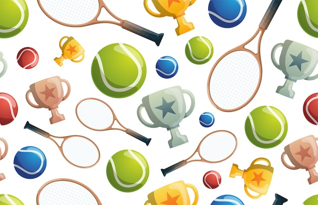 Теннис бесшовные модели. теннис бесшовные модели с ракетами, шарами и кубками