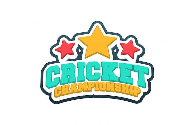 Эмблема эмблема спортивный стиль крикет типография с мячом