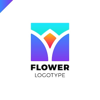 Абстрактный цветок тюльпан логотип в квадрате значок векторного дизайна. элегантный линейный символ премии.