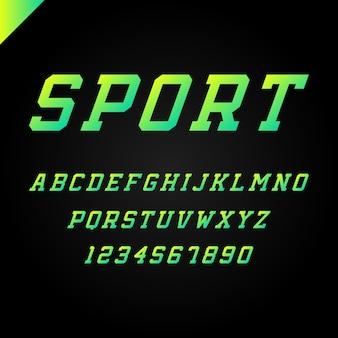 Спортивный алфавит с латинскими буквами и цифрами.