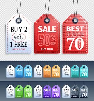 Векторные продажи теги коллекция дизайн висит с разными цветами для магазина акции