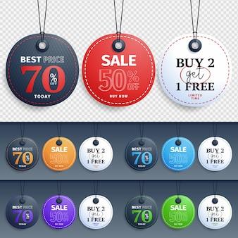 店の昇進のための異なる色でぶら下がっているベクトル販売タグデザインコレクション