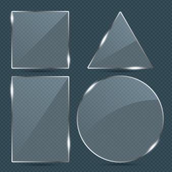 Векторные модные прозрачные стеклянные рамки формы пластины установлены