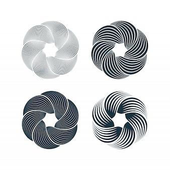 スパイラルと旋回運動のねじれ円デザイン要素セット。ベクトルイラスト。