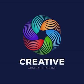 サークルデザイン要素のロゴをねじるカラフルなスパイラルと旋回運動。