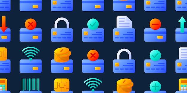 さまざまな要素を持つクレジットカードのシームレスなパターンベクトルイラスト。