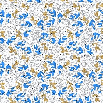 かわいいベクターリーフシームレスなベクターパターン。葉と抽象的な印刷