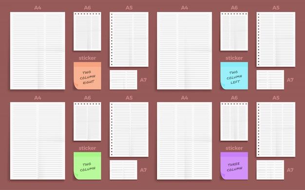 Набор из мятой четырехсторонней бумаги с двумя и тремя полосами в виде бумаги формата а