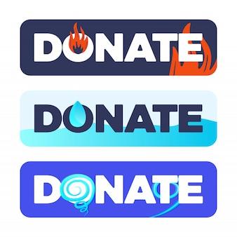 自然災害の火、洪水、ハリケーン、竜巻に対する寄付または物資援助のボタン
