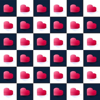 シームレスな等尺性株式ベクトルパターン、正方形ブロックで幾何学的なフラットピンクハートをずらして