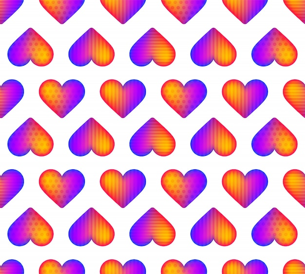 Бесшовные радуга реалистичные сердца шаблон вектор. прекрасная идея для романтической открытки