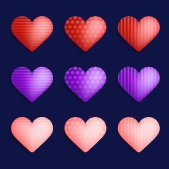 Векторный набор красочных реалистичных сердец
