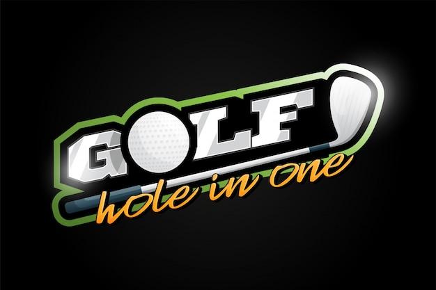 ゴルフマスコットレトロなスタイルの現代プロスポーツタイポグラフィ。